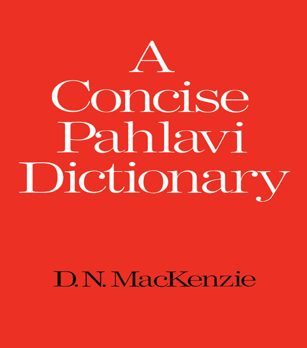A Concise Pahlavi Dictionary: 1st Edition (Paperback) book cover
