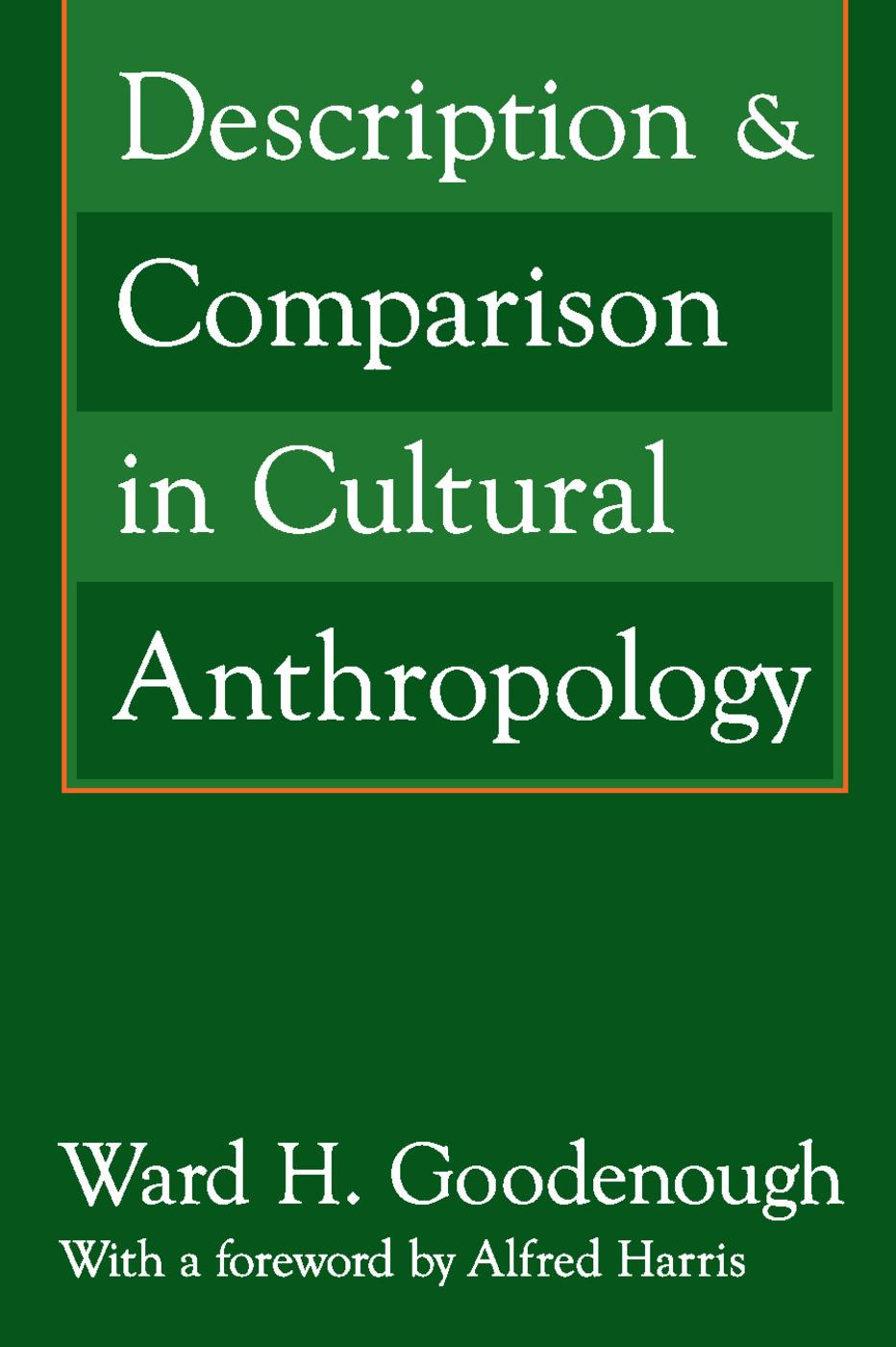 Description and Comparison in Cultural Anthropology: 1st Edition (e-Book) book cover