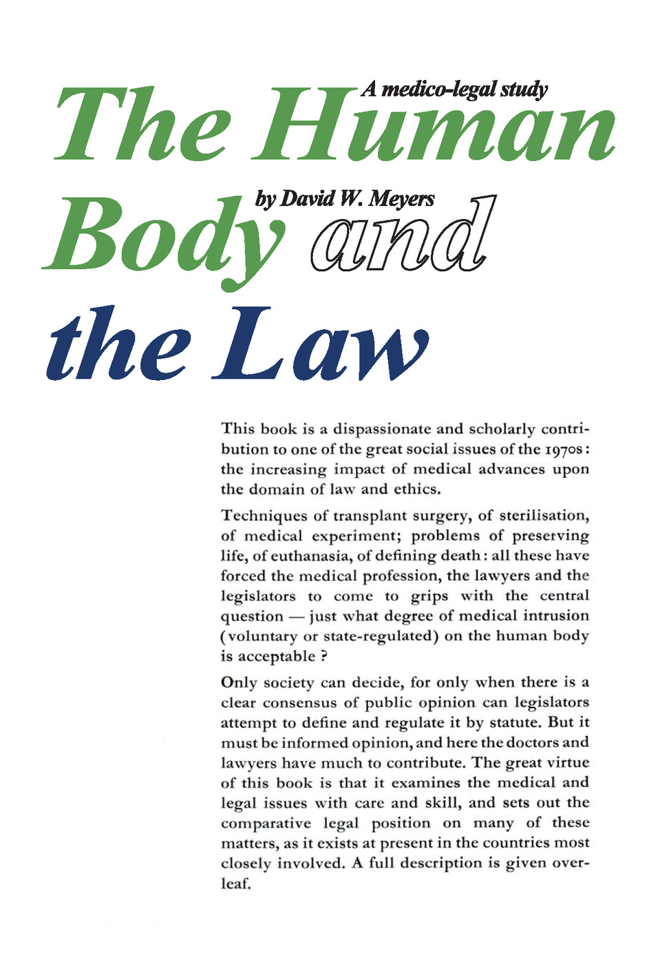 Human Body and the Law: A Medico-legal Study, 1st Edition (Paperback) book cover