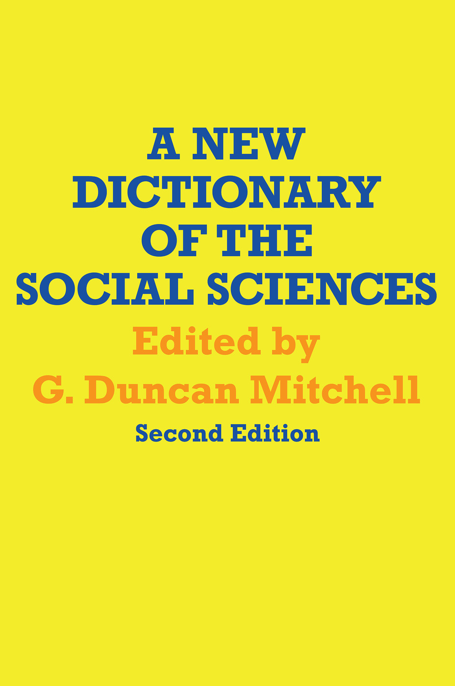 A New Dictionary of the Social Sciences: 2nd Edition (Paperback) book cover
