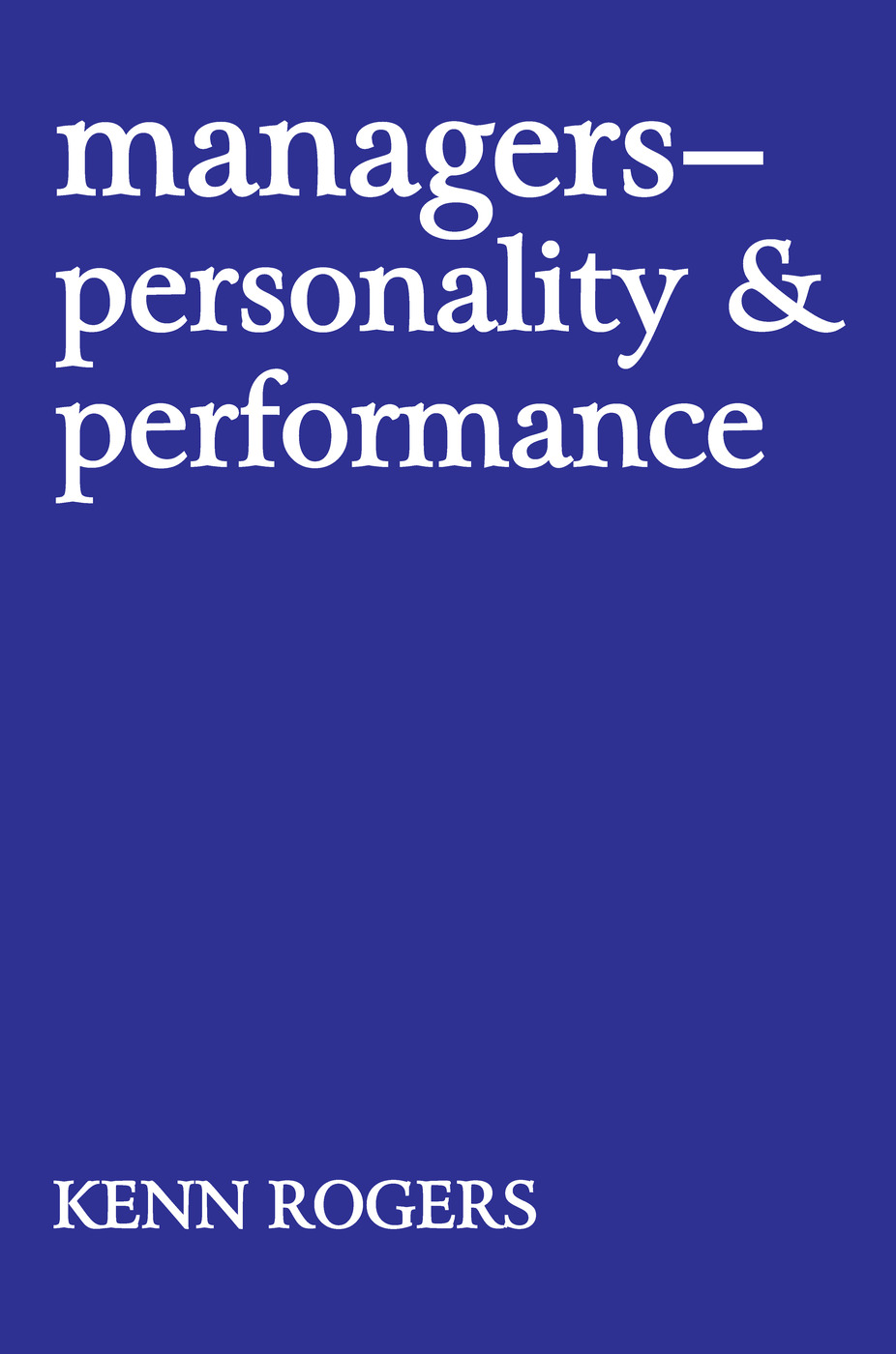 Managers: Personality and Performance, 1st Edition (e-Book) book cover