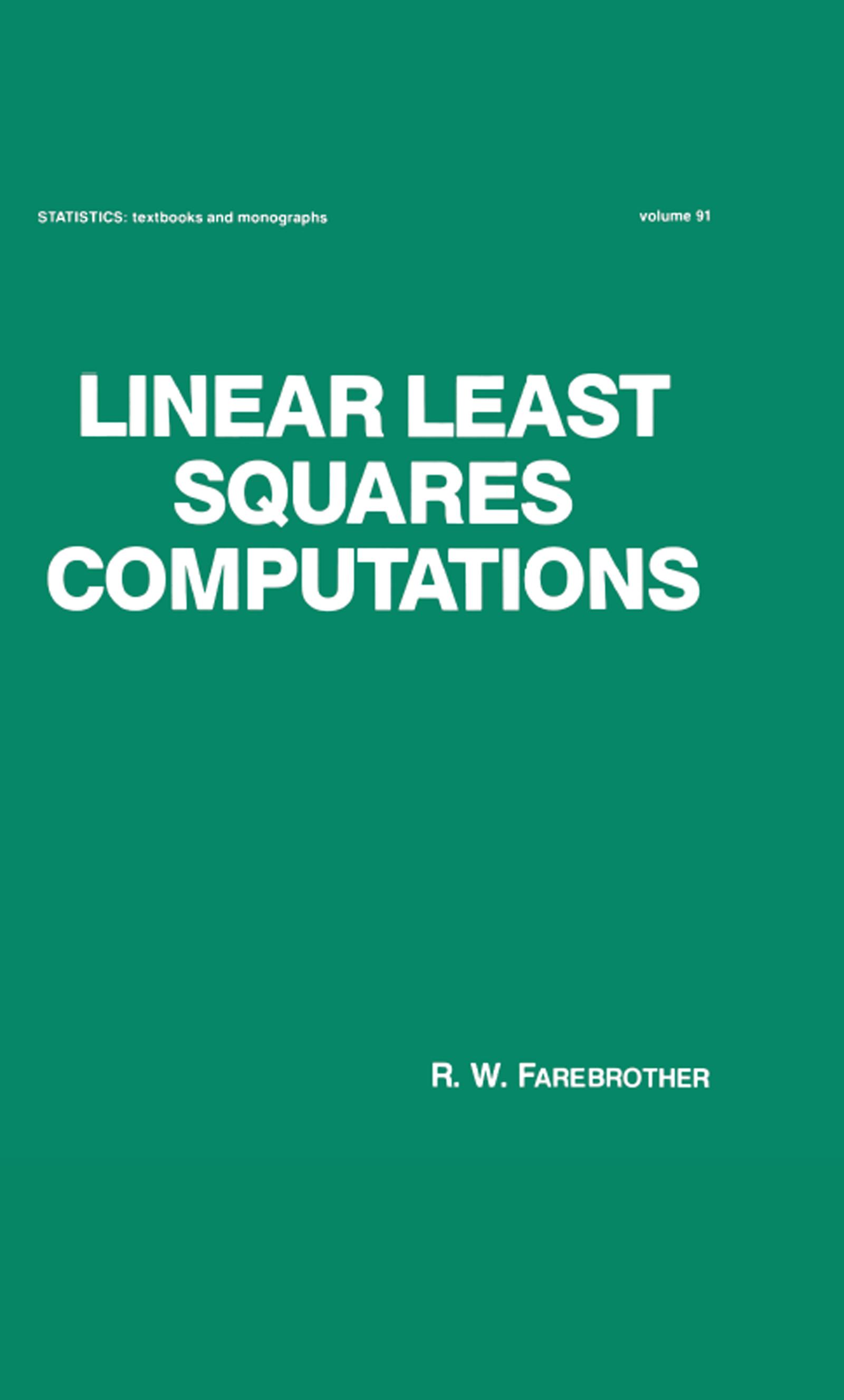 Linear Least Squares Computations