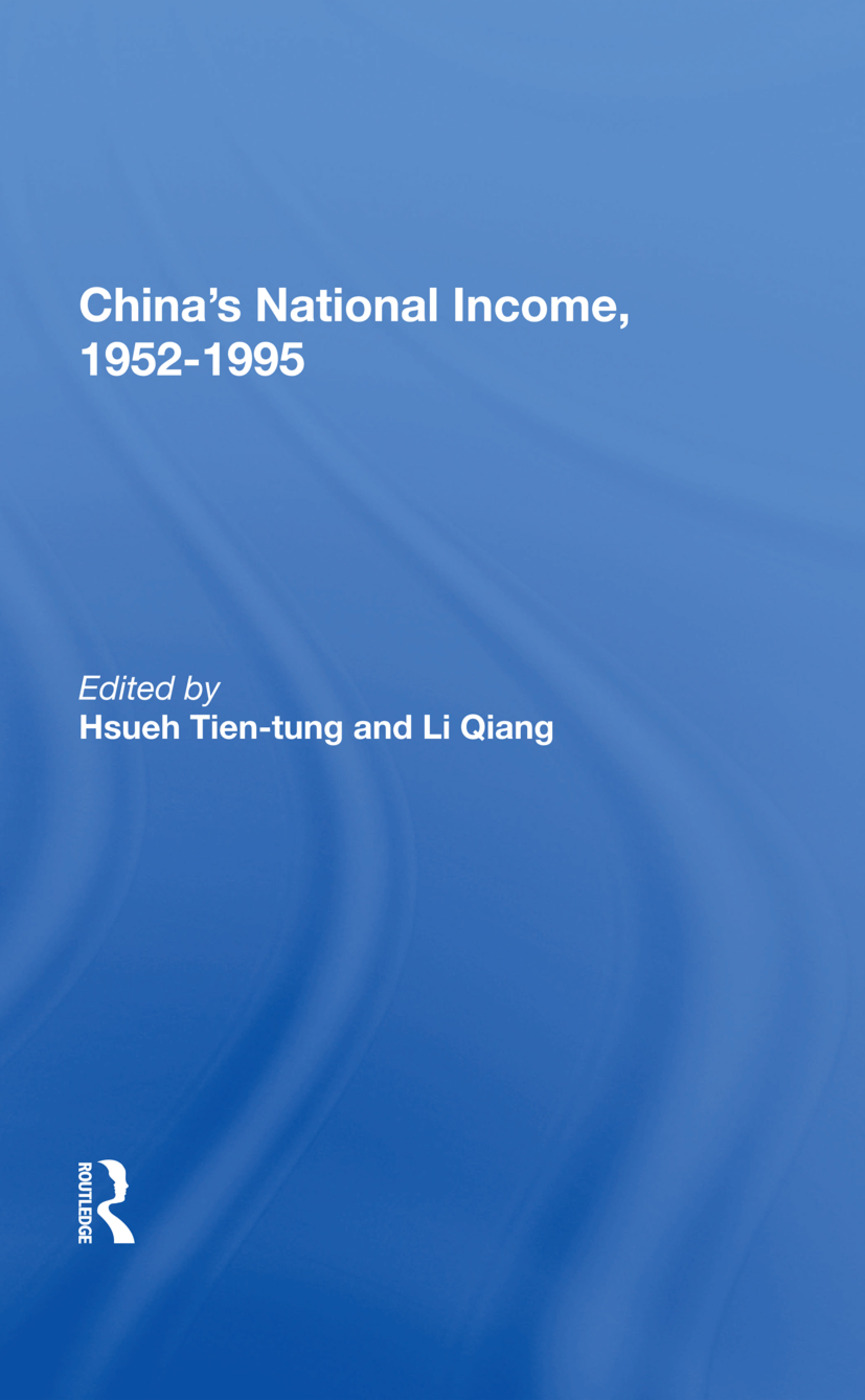 China's National Income, 1952-1995 book cover