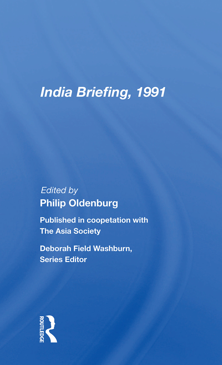 India Briefing, 1991: 1st Edition (Paperback) book cover