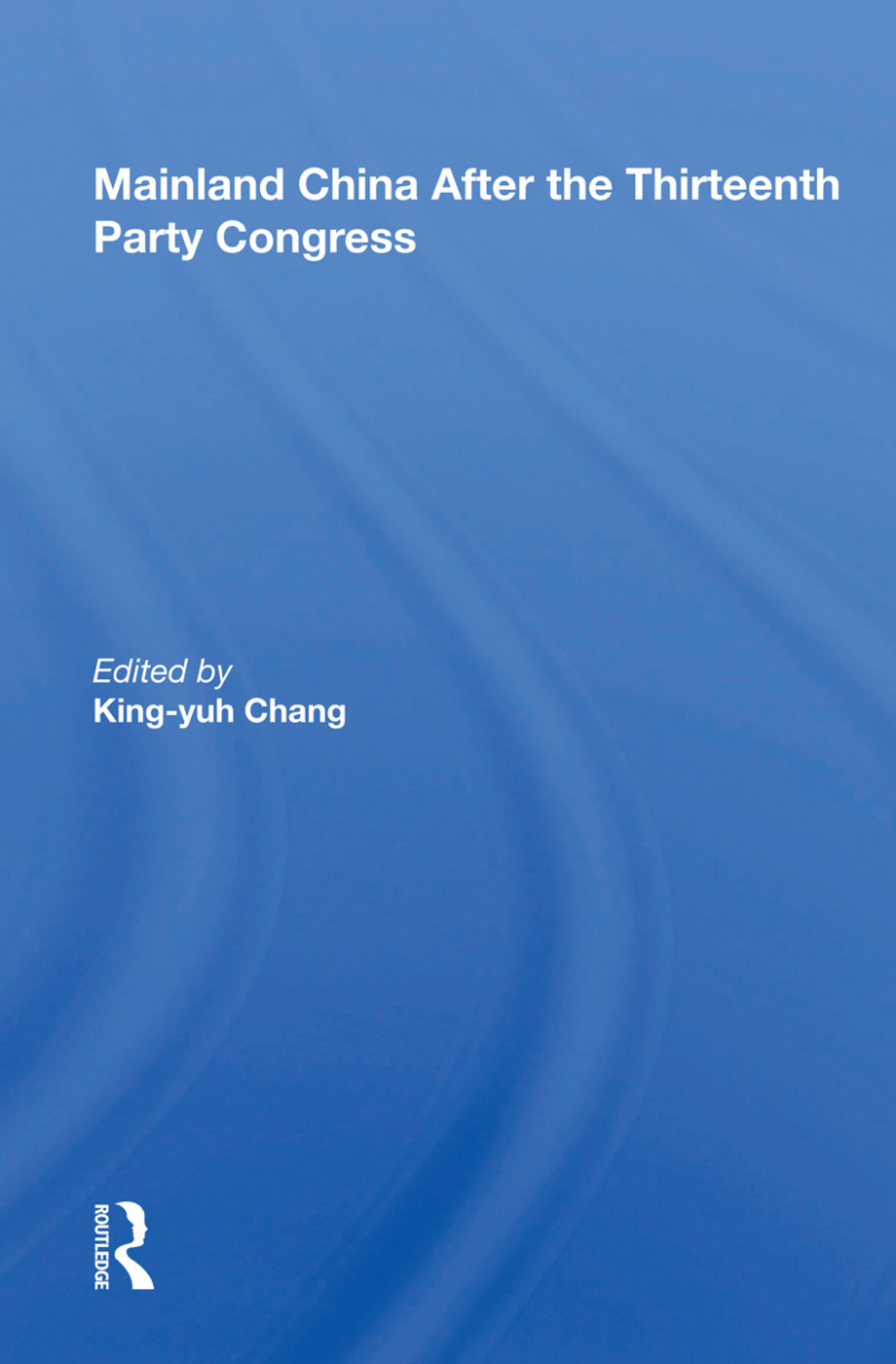 Mainland China After The Thirteenth Party Congress book cover