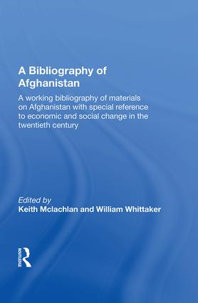 A Bibliography Of Afghanistan book cover