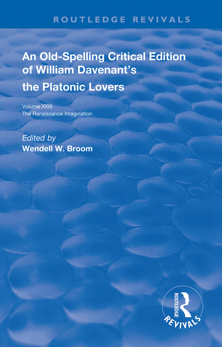 William Davenant's The Platonic Lovers: 1st Edition (Hardback) book cover