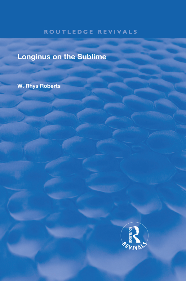Longinus on the Sublime: The Greek Text Edited After the Manuscript, 1st Edition (Hardback) book cover