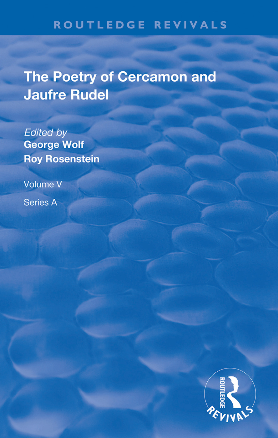 The Poetry of Cercamon and Jaufre Rudel: 1st Edition (Hardback) book cover