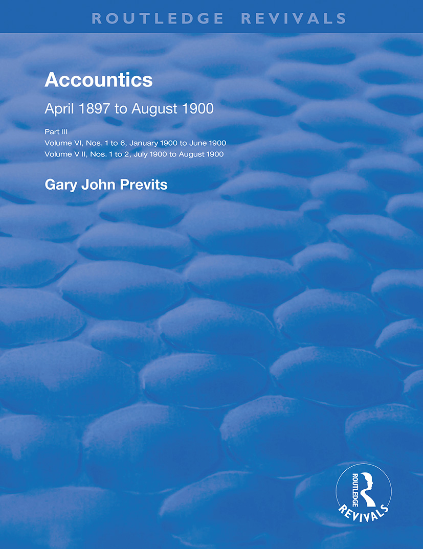 Accountics, Part III: January 1900 to August 1900, 1st Edition (Paperback) book cover