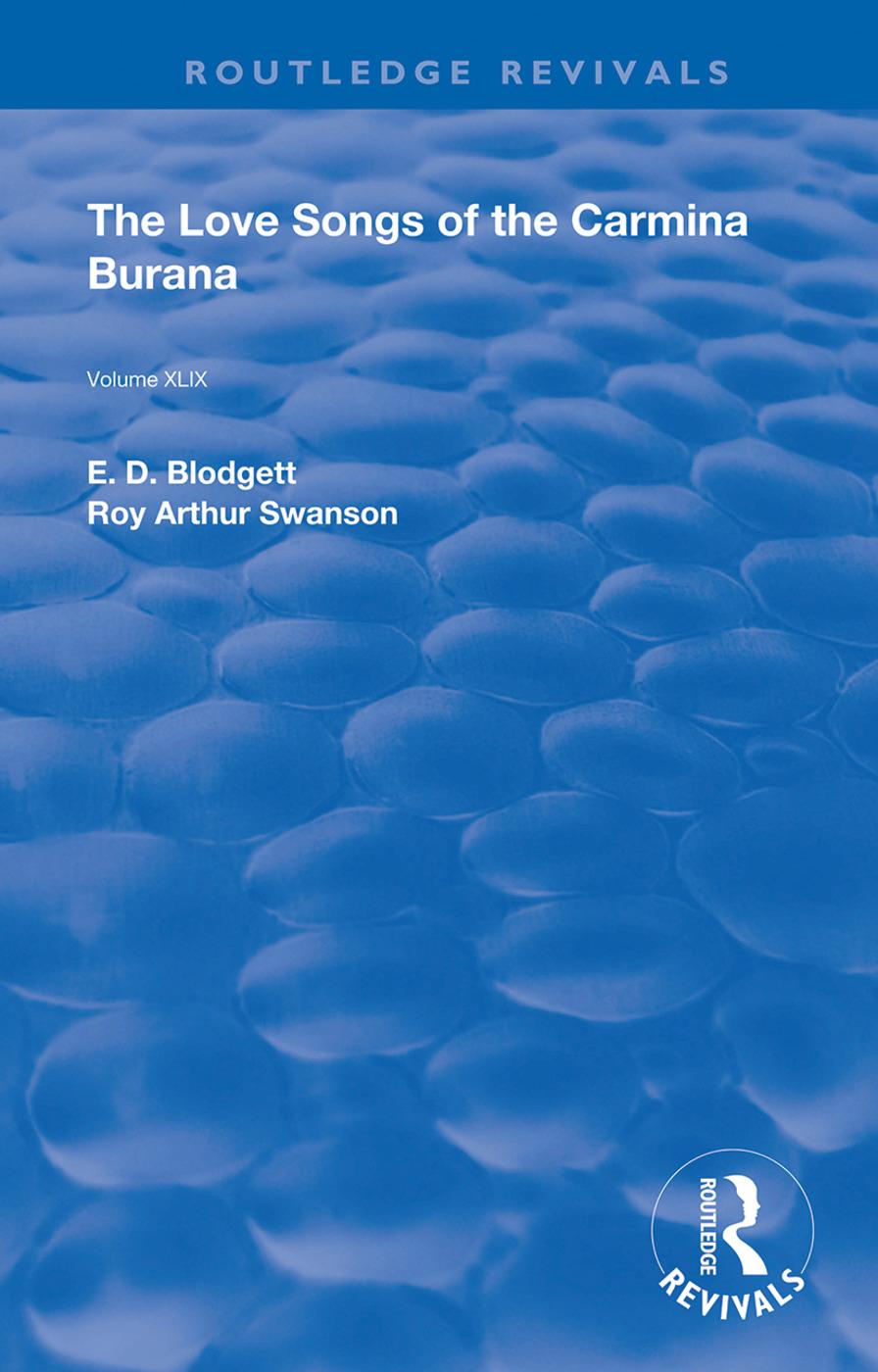 The Love Songs of the Carmina Burana: 1st Edition (Hardback) book cover