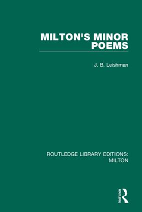 Milton's Minor Poems book cover