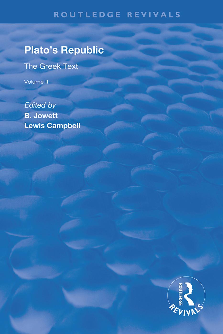 Plato's Republic (Vol 2): The Greek Text, 1st Edition (Hardback) book cover