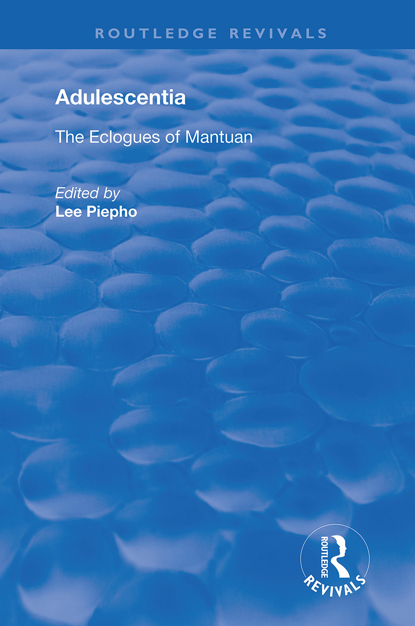 Adulescentia: The eclogues of Mantuan book cover