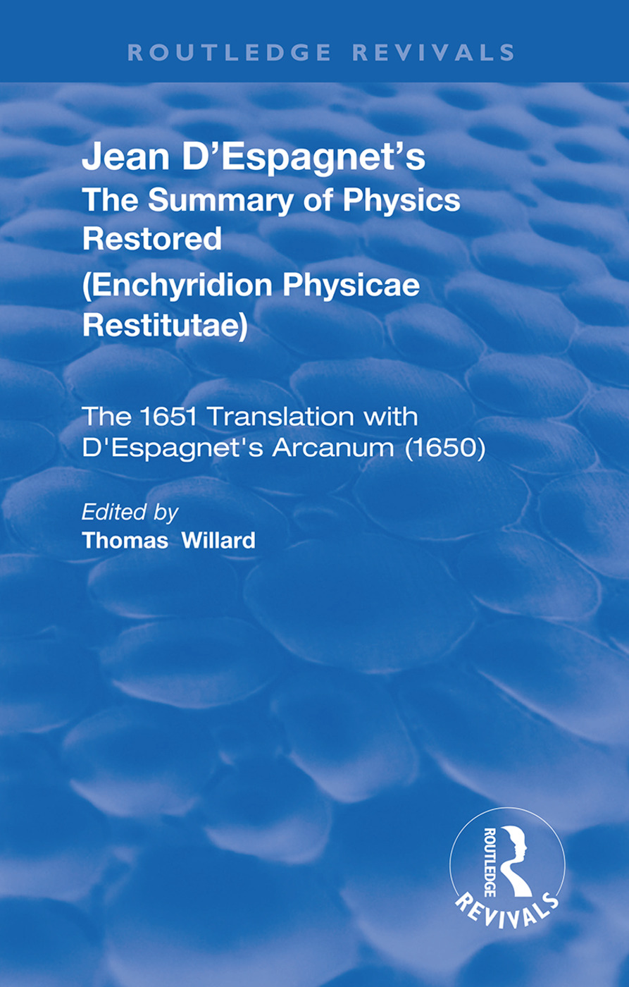 Jean D'Espagnet's The Summary of Physics Restored book cover