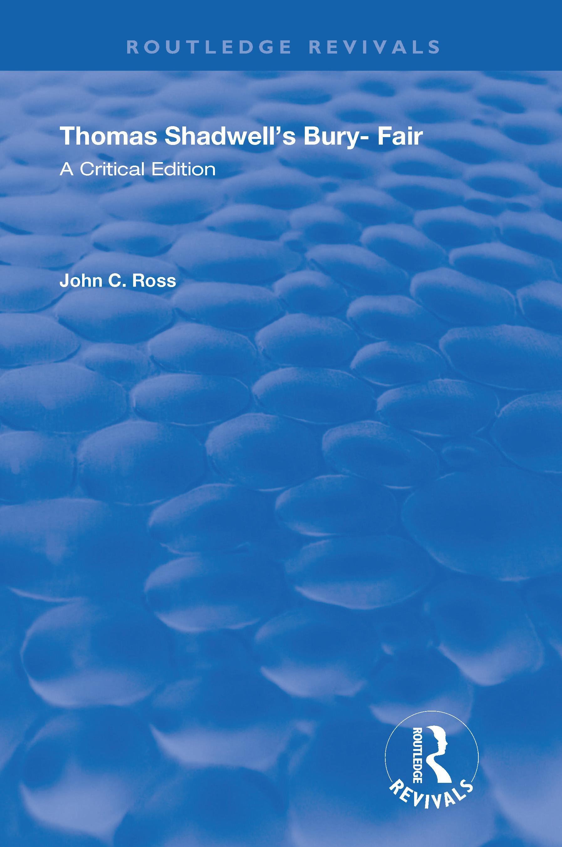 Thomas Shadwell's Bury-Fair: A Critical Edition, 1st Edition (Hardback) book cover
