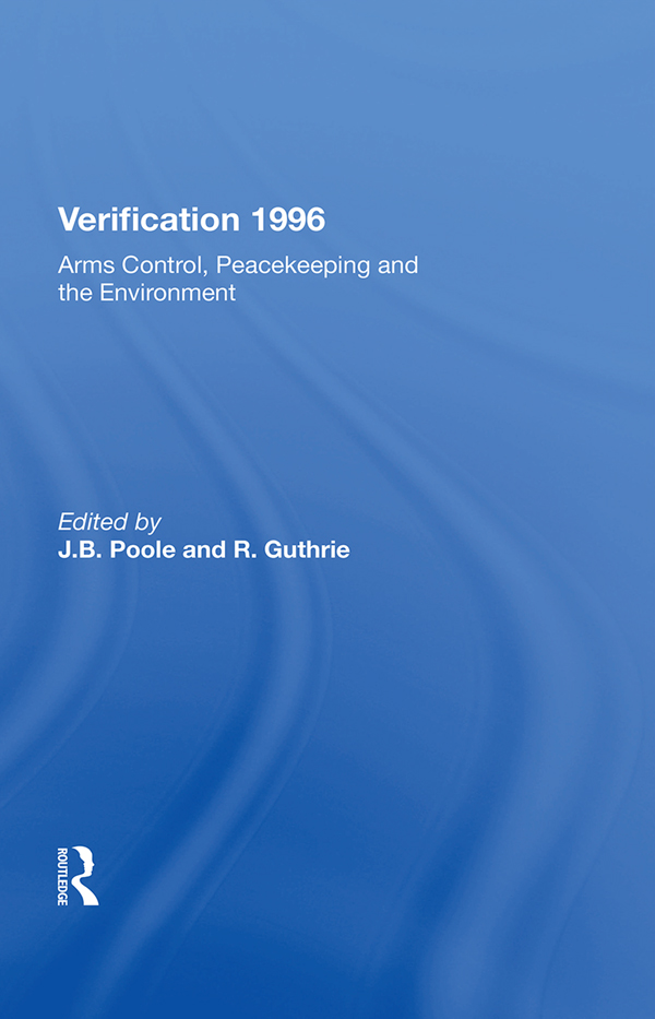 Verification 1996: Arms Control, Peacekeeping, And The Environment book cover