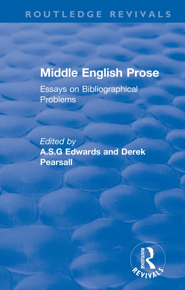 Middle English Prose: Essays on Bibliographical Problems, 1st Edition (Hardback) book cover