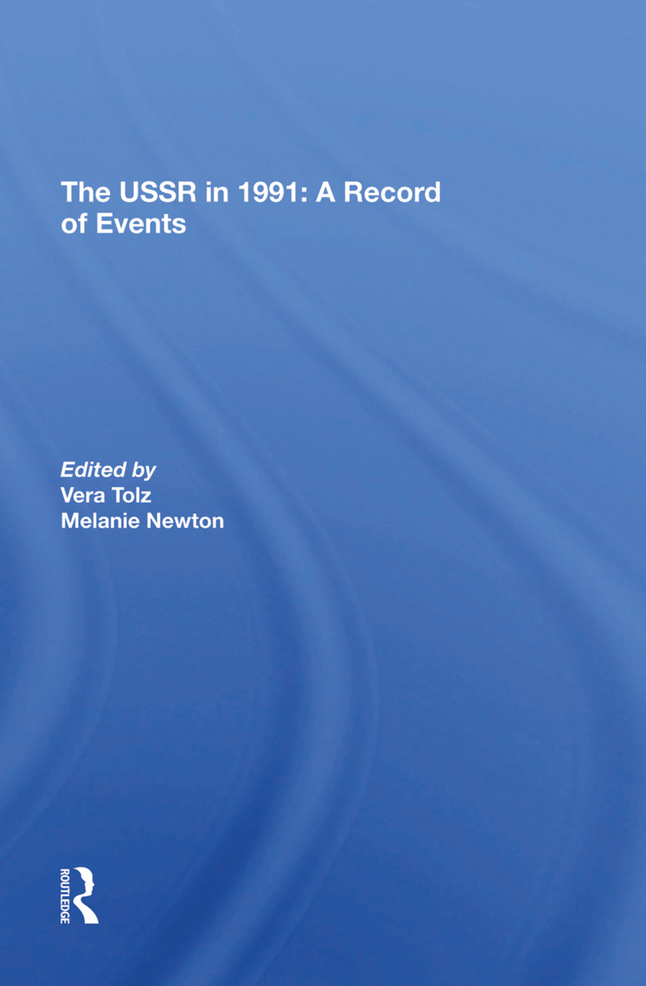 The Ussr In 1991: A Record Of Events, 1st Edition (Hardback) book cover
