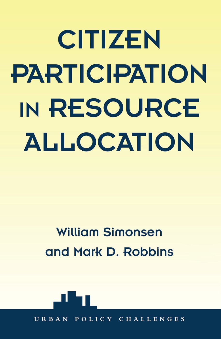 Citizen Participation In Resource Allocation book cover