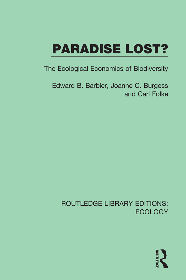 Paradise Lost?: The Ecological Economics of Biodiversity book cover