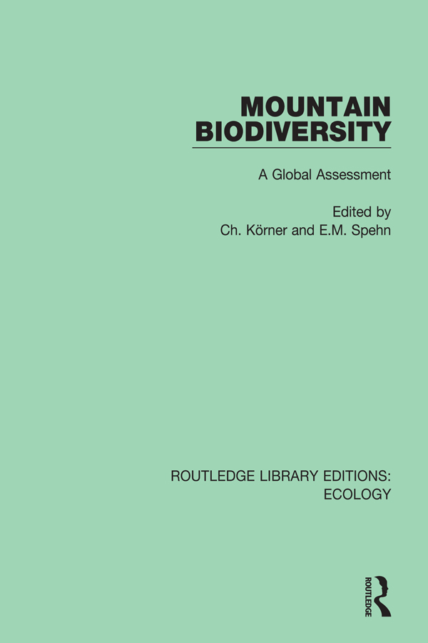 Mountain Biodiversity: A Global Assessment book cover