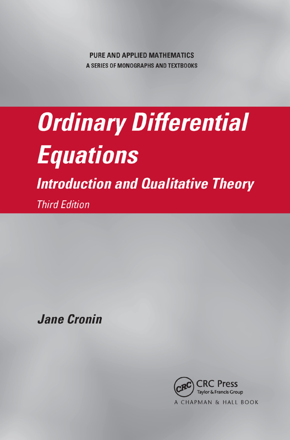 Ordinary Differential Equations: Introduction and Qualitative Theory, Third Edition, 3rd Edition (Paperback) book cover