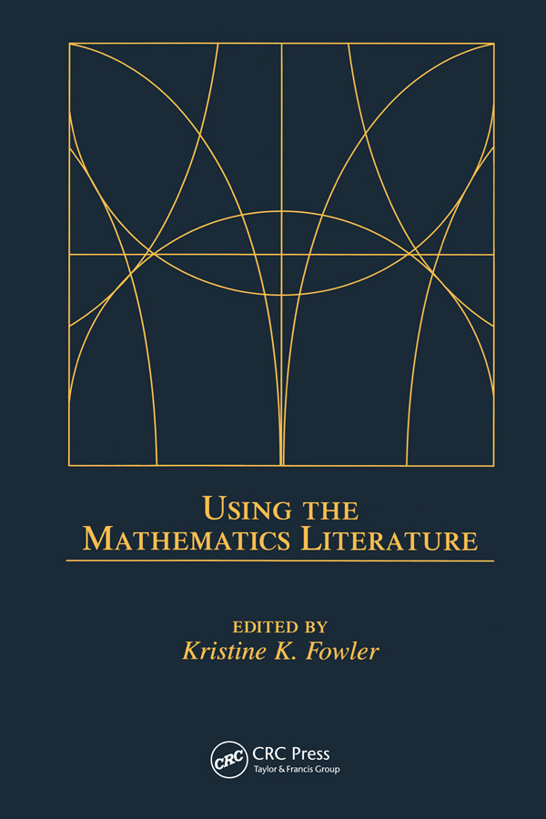 Using the Mathematics Literature: 1st Edition (Paperback) book cover