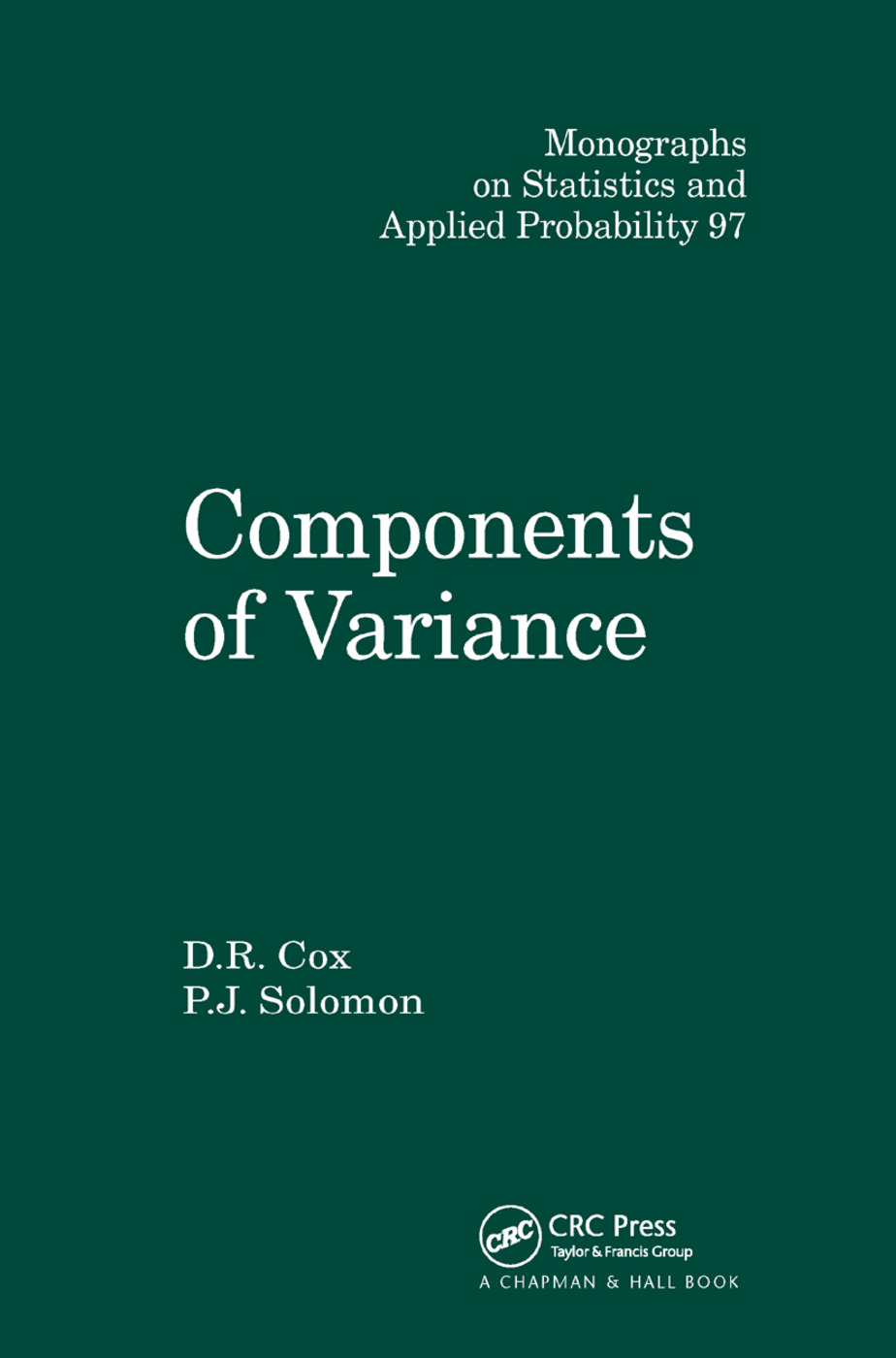 Components of Variance: 1st Edition (Paperback) book cover