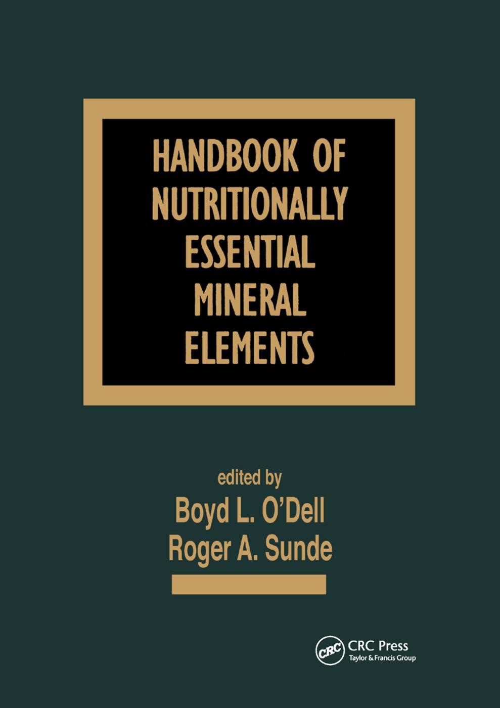 Handbook of Nutritionally Essential Mineral Elements