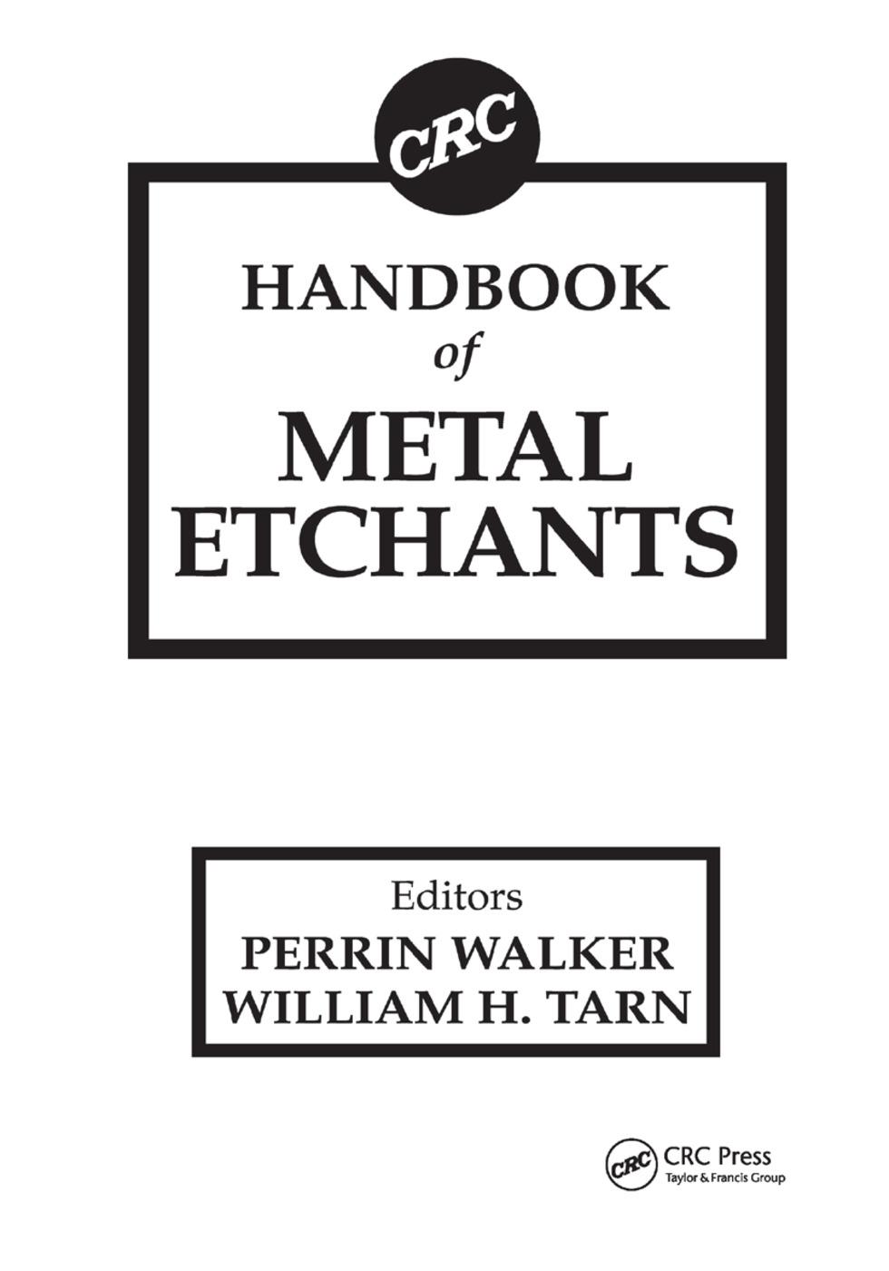 CRC Handbook of Metal Etchants book cover
