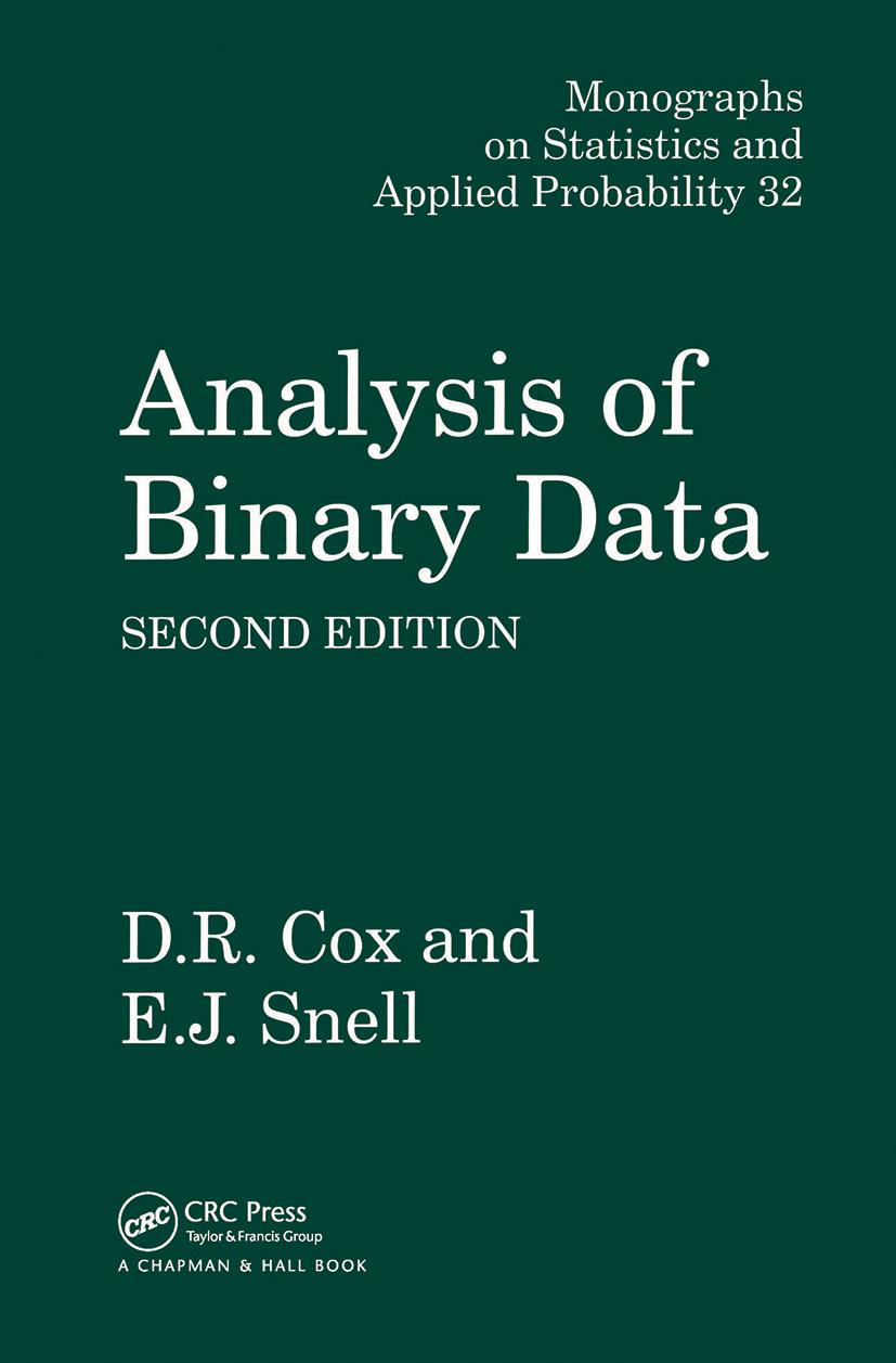 Analysis of Binary Data: 2nd Edition (Hardback) book cover