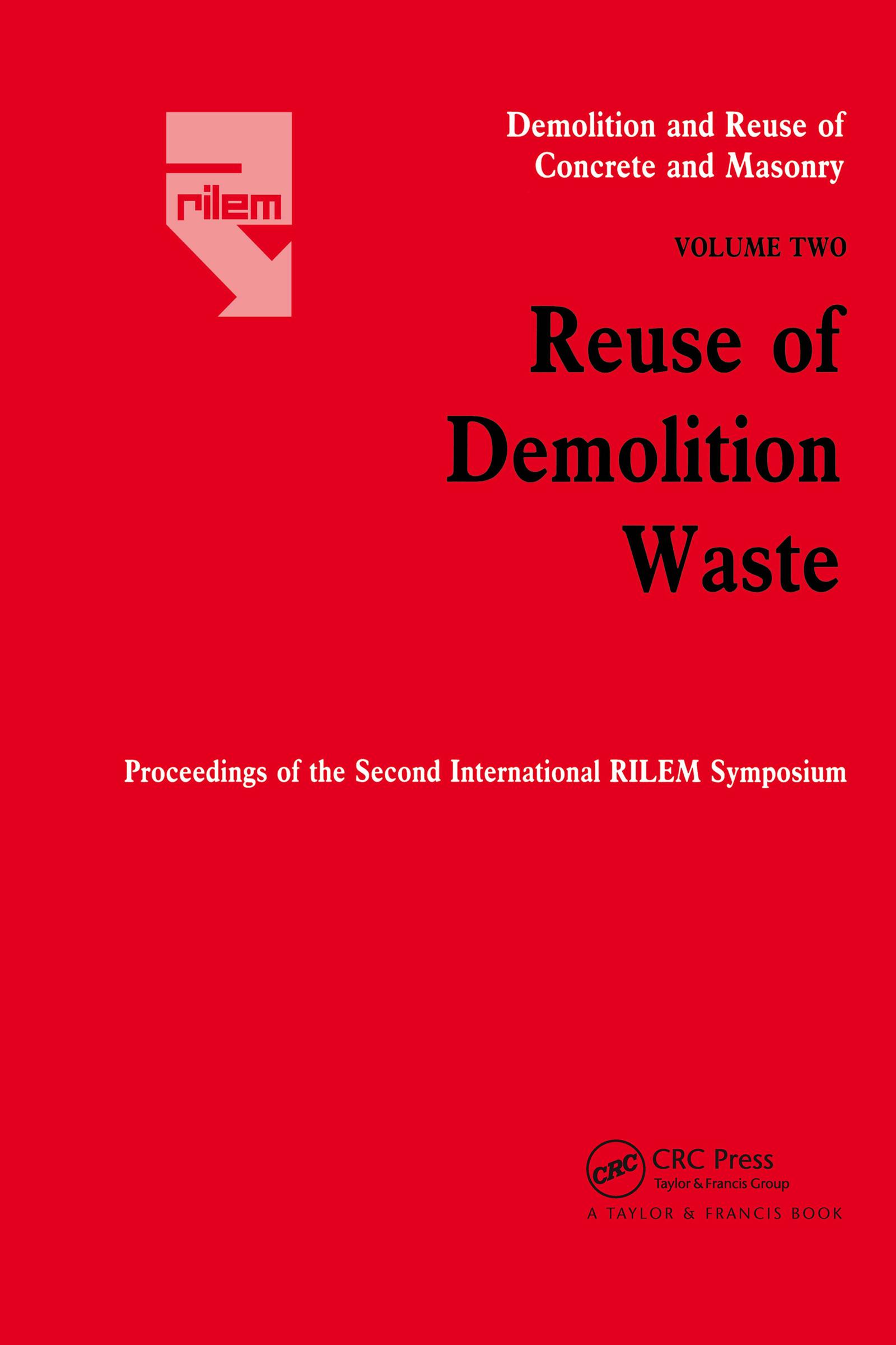 Demolition Reuse Conc Mason V2: 1st Edition (Hardback) book cover