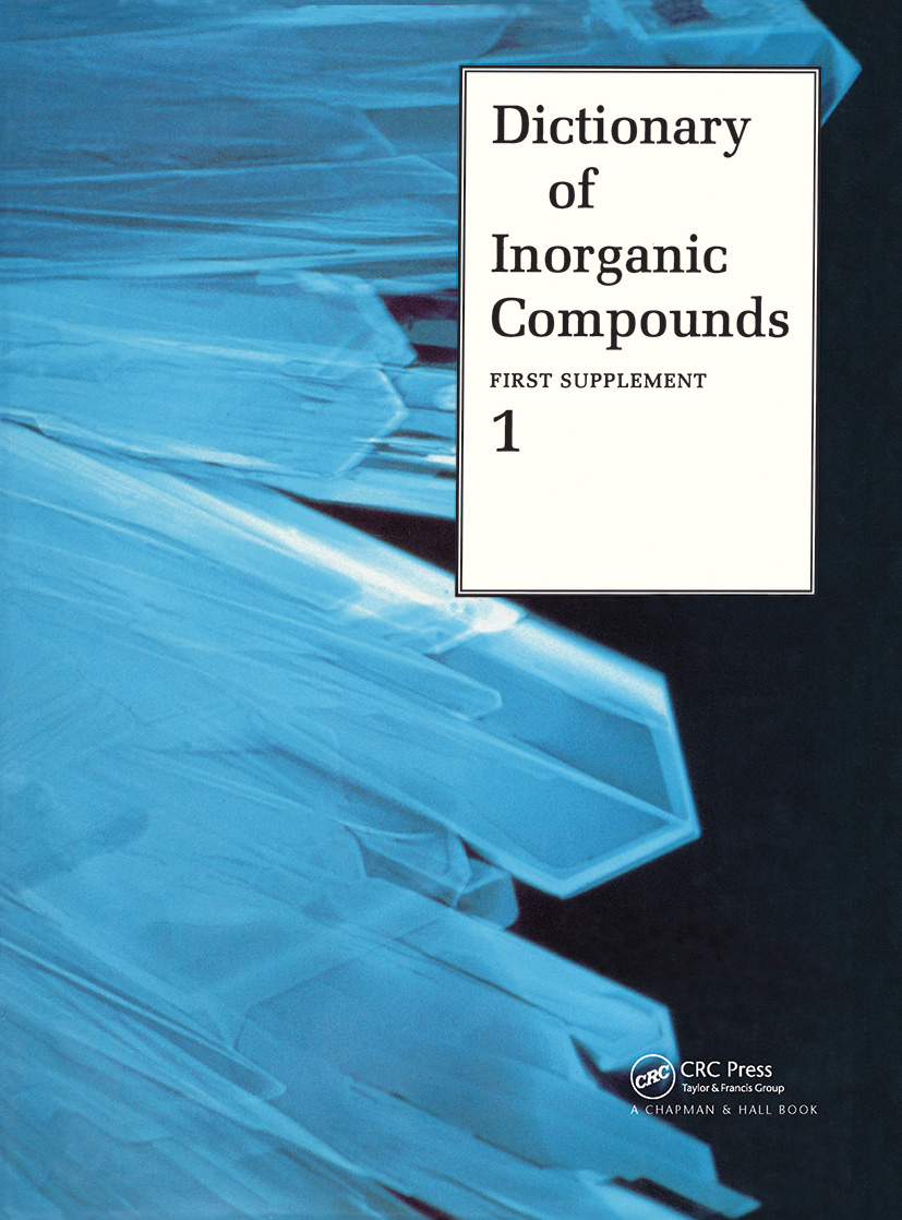 Dictionary of Inorganic Compounds, Supplement 1: 1st Edition (Hardback) book cover