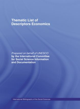 Thematic List of Descriptors: Economics: 1st Edition (Hardback) book cover