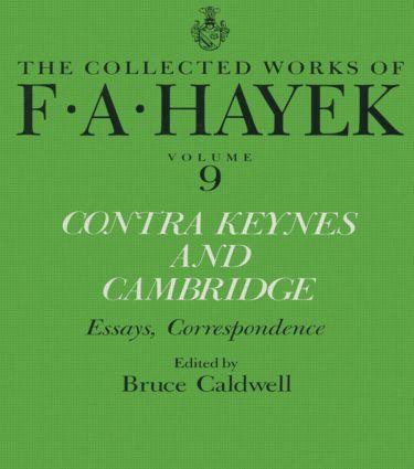 Contra Keynes and Cambridge: Essays, Correspondence (Hardback) book cover