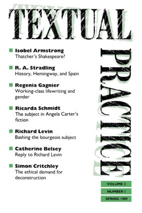 Textual Practice: Issue 7 Volume 3 No. 1, 1st Edition (Paperback) book cover