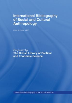 IBSS: Anthropology: 1987 Volume 33 book cover
