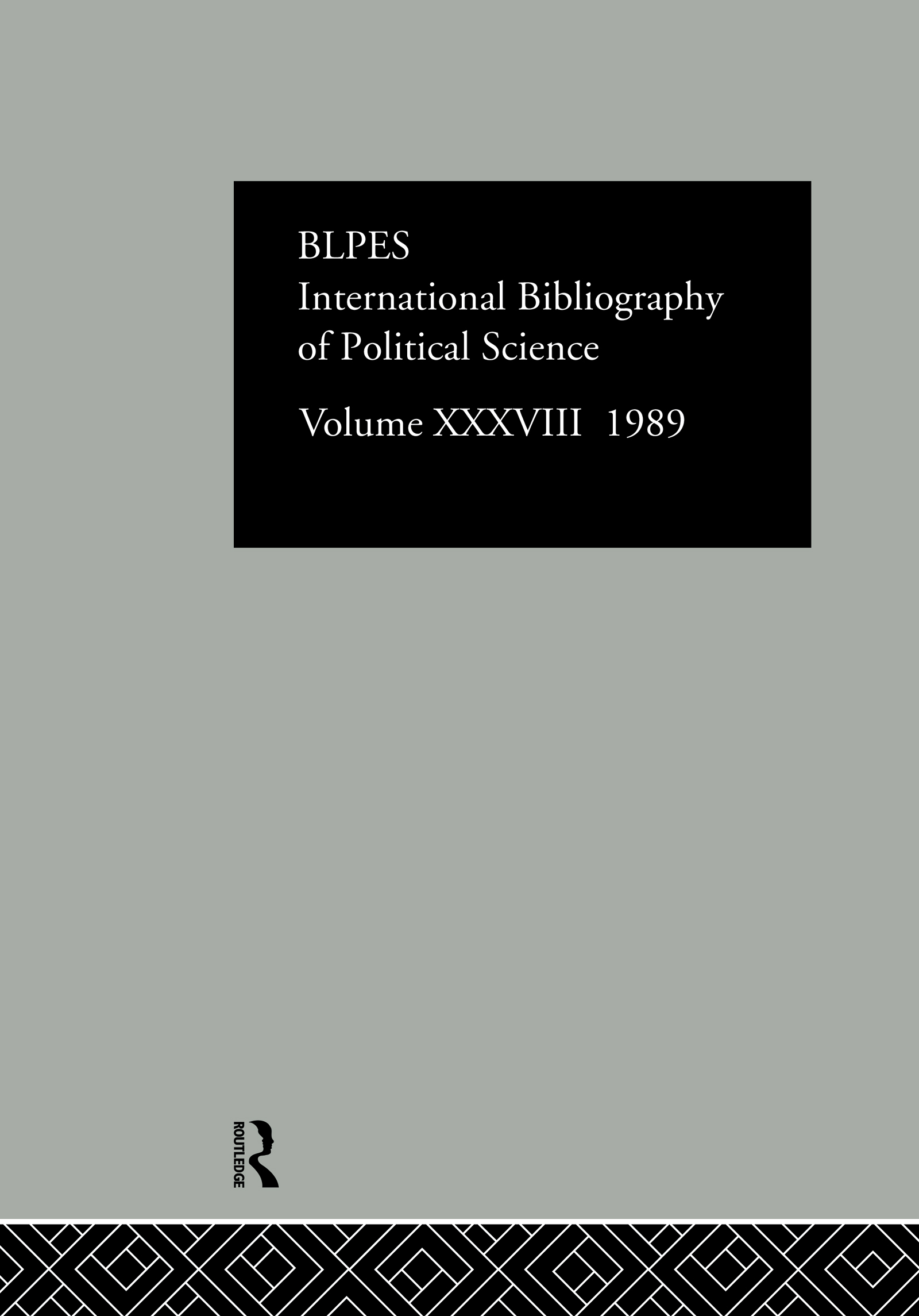 IBSS: Political Science: 1989 Volume 38: 1st Edition (Hardback) book cover