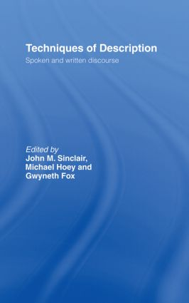 Techniques of Description: Spoken and Written Discourse (Hardback) book cover