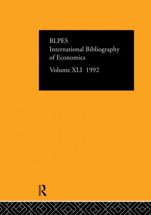 IBSS: Economics: 1992 Vol 41 book cover