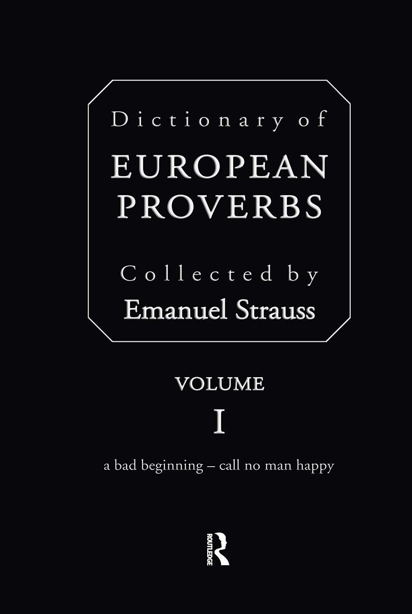 Dictionary of European Proverbs book cover