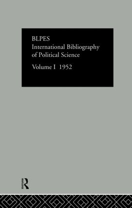 Intl Biblio Pol Sc 1952 Vol 1: 1st Edition (Hardback) book cover