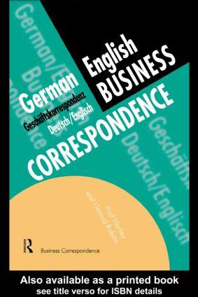 German/English Business Correspondence: Geschaftskorrespondenz Deutsch/Englisch, 1st Edition (Paperback) book cover