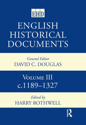 English Historical Documents: Volume 3 1189-1327, 2nd Edition (Hardback) book cover