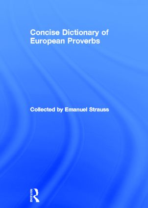 Concise Dictionary of European Proverbs: 1st Edition (Paperback) book cover