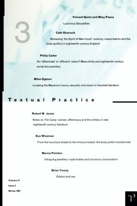 Luxurious Sexualities: Textual Practice Volume 11 Issue 3 (Paperback) book cover