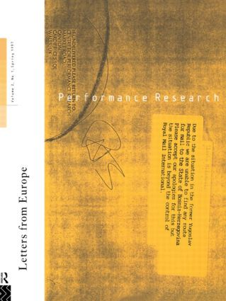 Performance Research: Letters from Europe: 1st Edition (Paperback) book cover