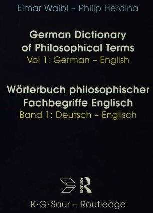 Dict Philos Terms Germ-Eng V1: 1st Edition (Hardback) book cover