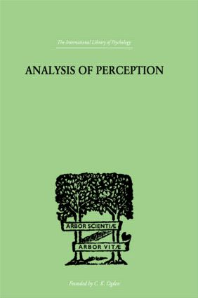 Analysis Of Perception (Hardback) book cover